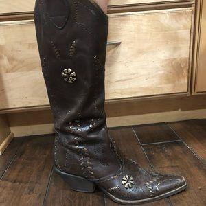BCBG 100% Leather Cowboy Boots